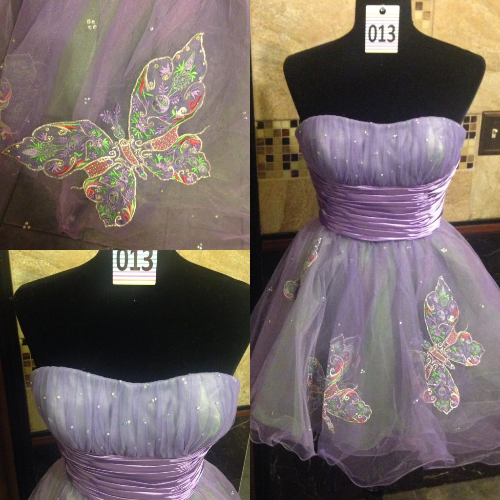 Gown 013 - Sherri Hill, Size 6, Lilac strapless minidress, satin and mesh bodice, tutu-style skirt with butterfly appliqué