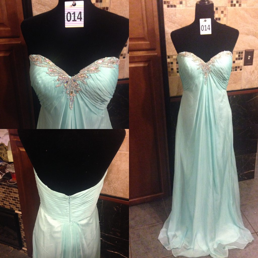 Gown 014 - La Femme, Size 10, Pastel Aquamarine satin and chiffon, strapless diamanté detailed bodice