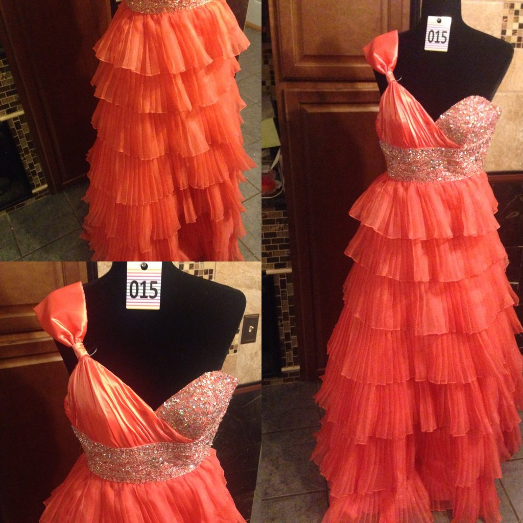 Gown 015 - Party Gown, Size 0, Coral, satin and chiffon full-ruffled skirt , asymmetric bodice, diamanté detail