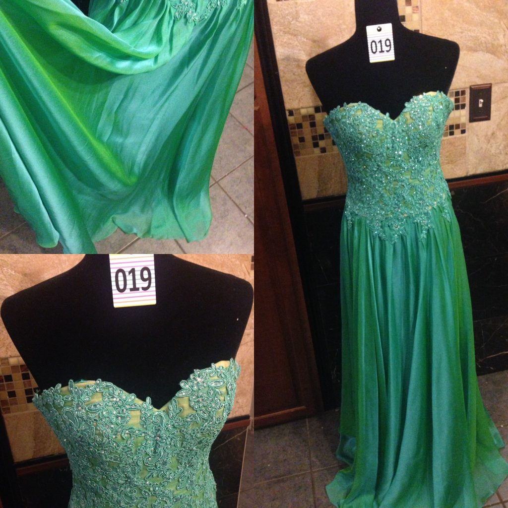 Gown 019 - La Femme, Size 2, Two-tone green, satin and chiffon flowing skirt with strapless bodice, diamanté appliqué