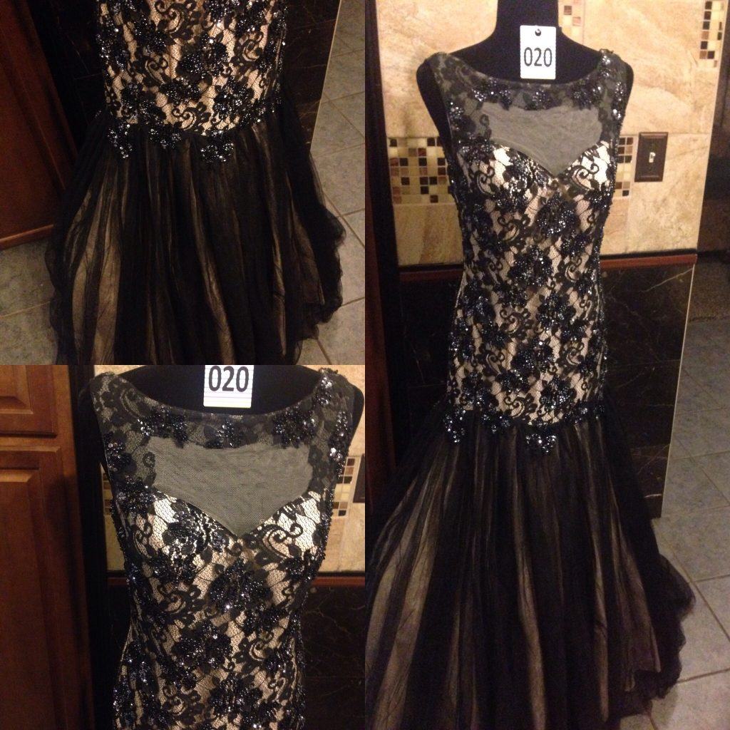 Gown 020 - Mac Duggal, Size 8, Cream lining with black mesh and sequined lace bodice, full skirt in black mesh and cream polyester