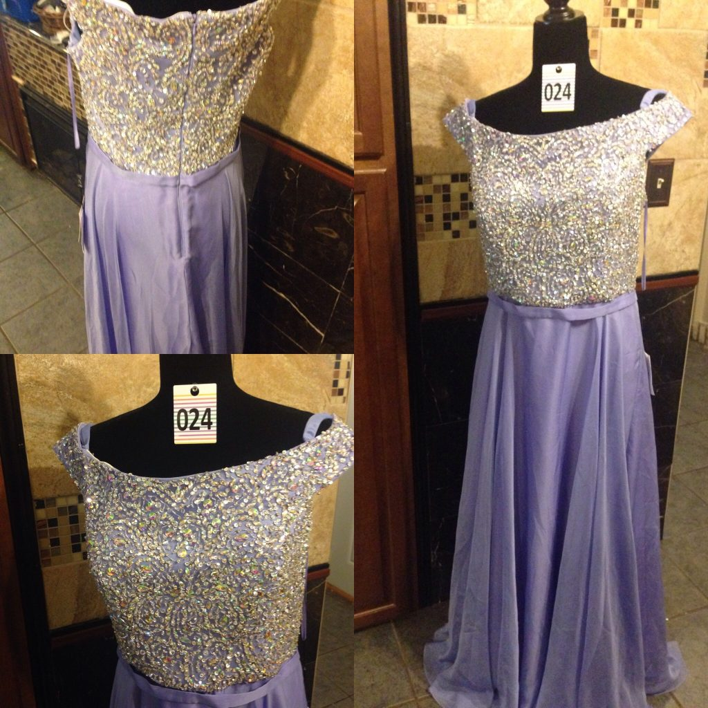 Gown 024 - Gigi, Size 16, Lilac satin and chiffon skirt with sequin-embellished bodice